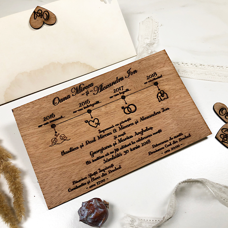 Invitaţie de nuntă premium Love Story