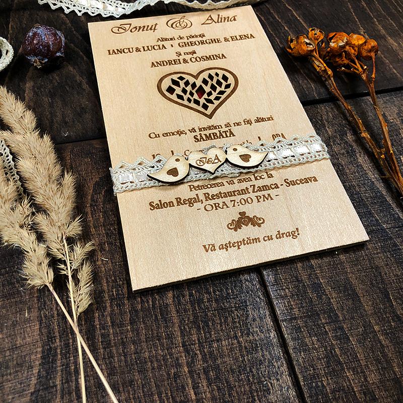 Invitaţie gravată pe lemn Red Heart (3)