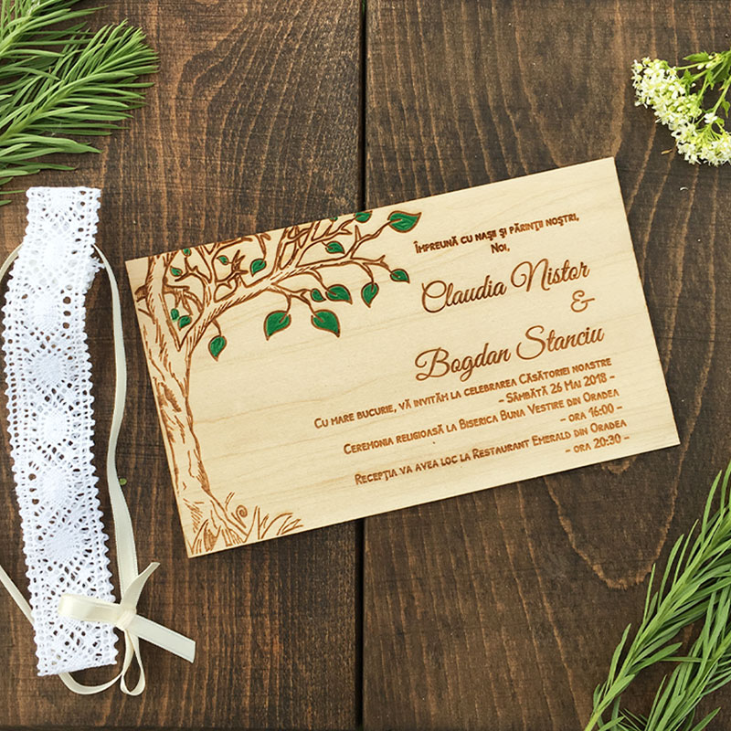 Invitatie de nunta pictata Greenery (1)