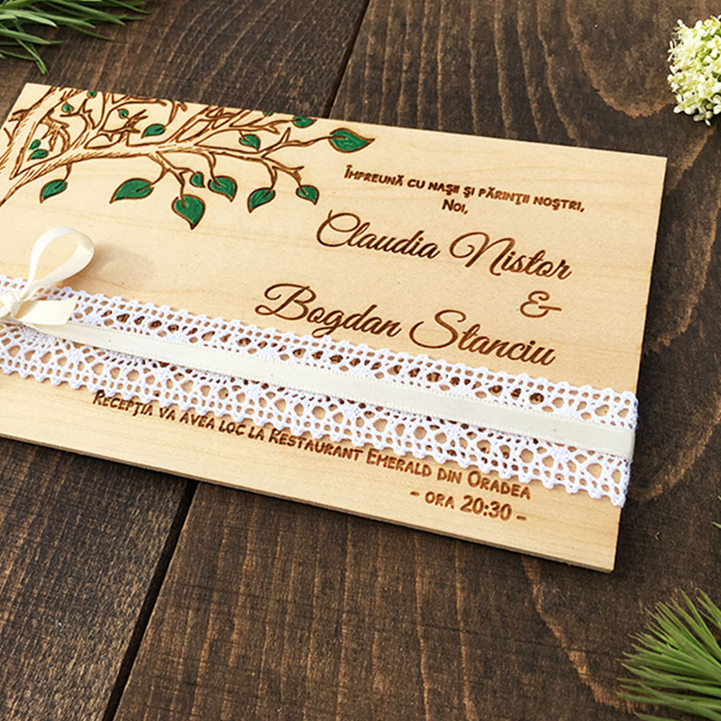 Invitatie de nunta pictata Greenery (2)