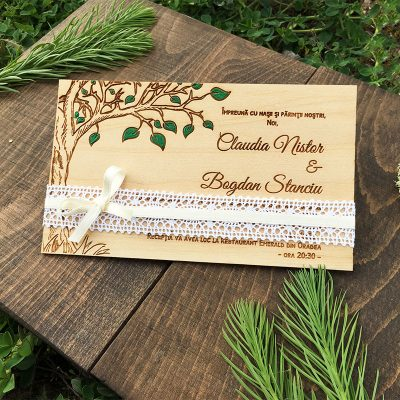 Invitatie de nunta pictata Greenery (5)